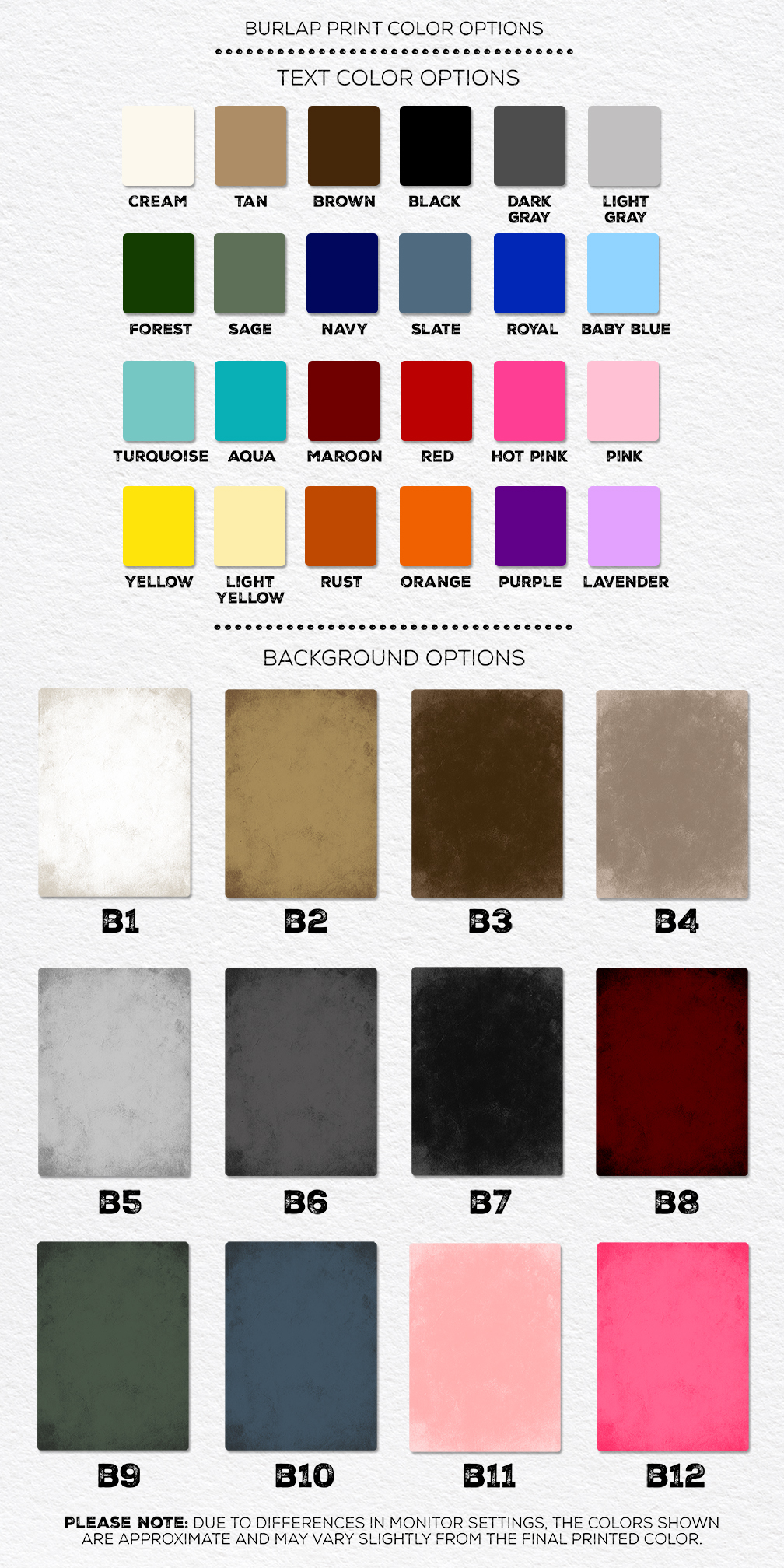 Personalized Burlap Sign Color Options